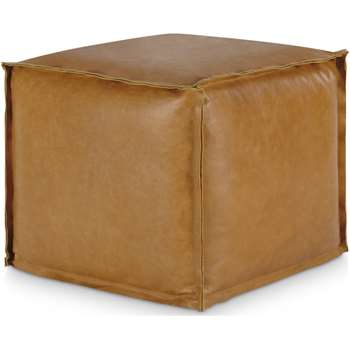 Kirby Square Pouffe, Tan Leather (H40 x W45 x D45cm)
