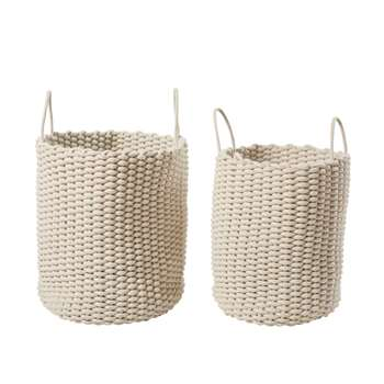 KIRSTEN 2 Woven Baskets in Ecru (H49 x W45.5 x D45.5cm)