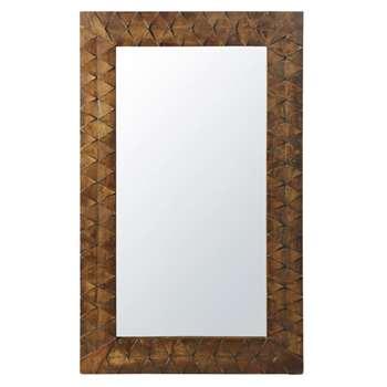 KISANGANI - Carved Mango Wood Mirror (H132.5 x W79.5 x D3cm)