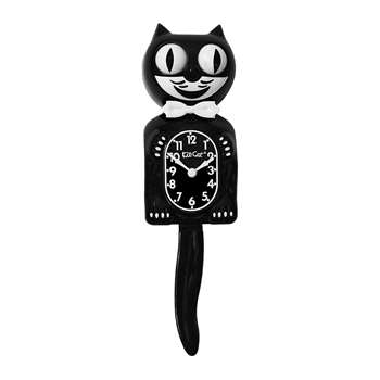 Kit-Cat Klocks - Classic Black Wall Clock - Bow Tie (Height 39cm)