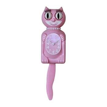 Kit-Cat Klocks - Kitty-Cat Pearls Wall Clock - Pink (Height 32cm)