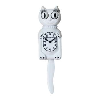 Kit-Cat Klocks - Kitty-Cat Pearls Wall Clock - White (Height 32cm)