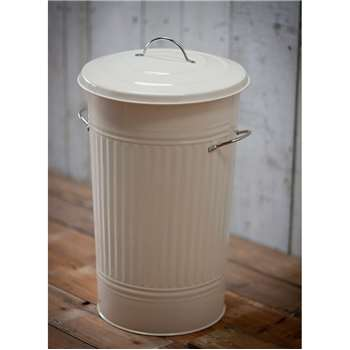 Kitchen Bin with Nickel Handles in Chalk - Steel (63 x 37cm)
