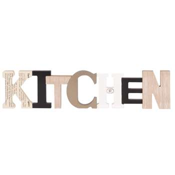 KITCHEN Bronze, Black and White Word Wall Art (H11 x W49.5 x D1.8cm)