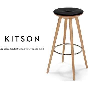 Kitson Barstool, Natural Wood and Black (78 x 56cm)