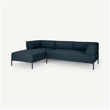 Kiva Left Hand Facing Chaise End Corner Sofa, Aegean Blue (H70 x W245 x D158cm)