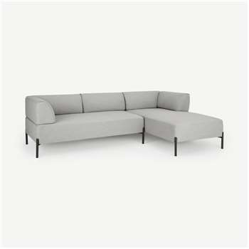 Kiva Right Hand Facing Chaise End Corner Sofa, Hail Grey (H70 x W245 x D158cm)