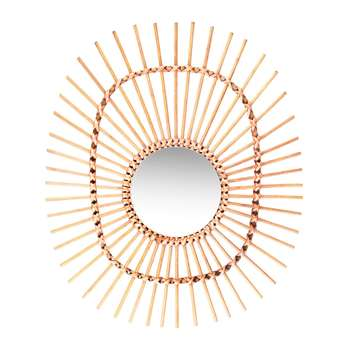 &Klevering - Oval Bamboo Mirror (H50 x W41cm)