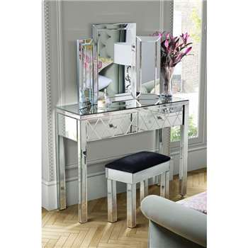 KNIGHTSBRIDGE Mirrored Dressing Table & COLLETA Triple Folding Mirror & Stool