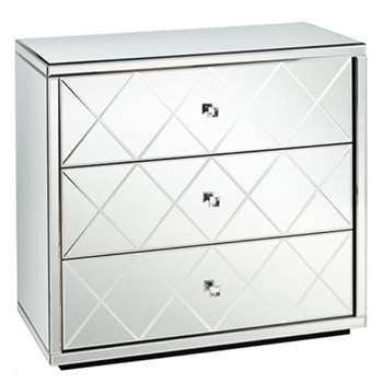 KNIGHTSBRIDGE Mirrored Low Chest with 3 Drawers and Plinth (82 x 86cm)