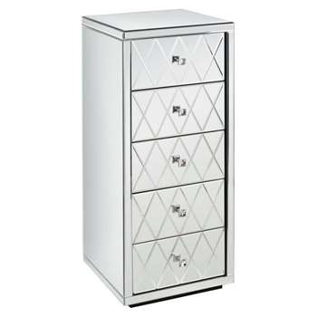KNIGHTSBRIDGE  Mirrored Tallboy Chest with 5 Drawers and Plinth (104 x 44cm)