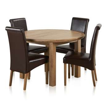 Knightsbridge Natural Solid Oak 4ft Extending Dining Table with 4 Chairs (H77 x W120-160 x D120cm)