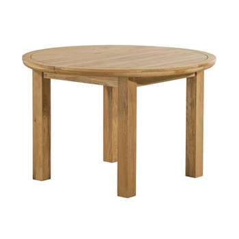 Knightsbridge Natural Solid Oak 6 Seater Round Extendable Dining Table (H77 x W120 x D120cm)