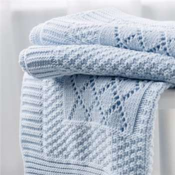 Knitted Patchwork Baby Blanket, Blue (75 x 100cm)