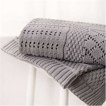 Knitted Patchwork Baby Blanket, Grey (75 x 110cm)