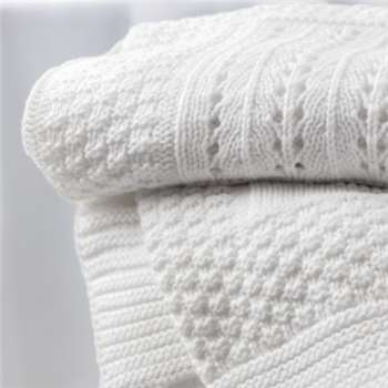Knitted Patchwork Baby Blanket, White (75 x 100cm)