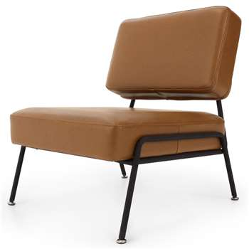 Knox Accent Armchair, Russet Brown Leather (H76 x W64 x D71cm)