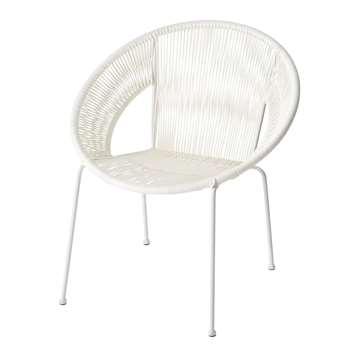 KO SAMUI Round White Resin String Armchair (79 x 62cm)