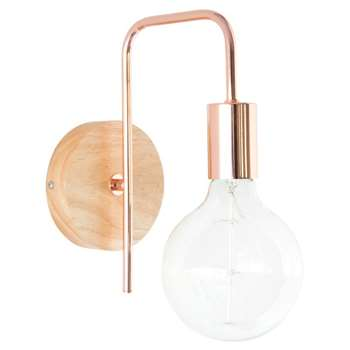 KOBE - Copper Metal Rubber Wood Industrial Wall Lamp (H25 x W12.5 x D19.5cm)