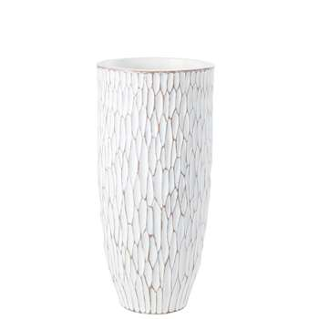 KODAMA - White Vase with Raised Design (H70 x W32.5 x D32.5cm)