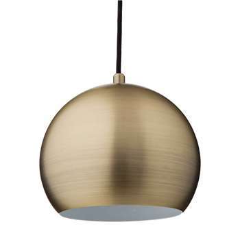 Koge Ball Pendant Lamp, Matt Gold With Black Cord (14.5 x 18cm)