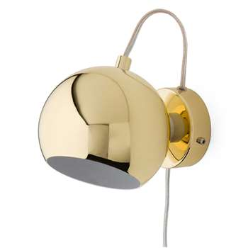 Koge Ball Wall Lamp, Gold With Transparent Cord 15 x 12cm