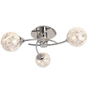 Koko 3 Light Ceiling Light Polished Chrome (H13 x W44 x D44cm)
