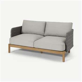 Kolbe Garden 2 Seater Sofa, Grey & Acacia Weave (H147 x W62cm)