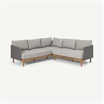 Kolbe Garden Corner Lounge Set, Grey & Acacia (H2112.5 x W82 x D212.5cm)