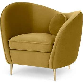 Kooper Accent Chair, Vintage Gold Velvet (H85 x W96 x D74cm)