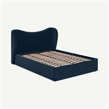 Kooper King Size Ottoman Bed, Sapphire Blue velvet (H100 x W183 x D227cm)