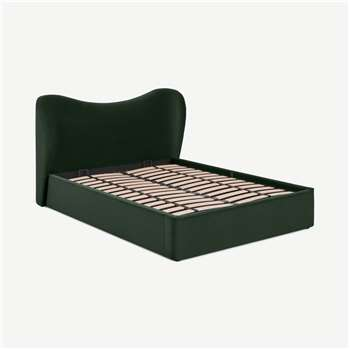 Kooper King Size Ottoman Storage Bed, Laurel Green Velvet (H100 x W183 x D227cm)