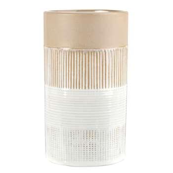 KRAFT - White, Beige and Taupe Ceramic Vase (H18 x W10 x D10cm)