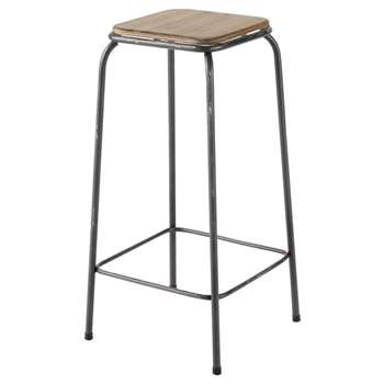 KRAFT Wood and Metal Industrial Bar Stool (H69 x W35 x D35cm)