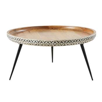 KRISHNA - Round Black Metal and Carved Solid Mango Wood Coffee Table (H35 x W71 x D71cm)