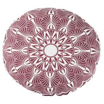 KRIYA Round Outdoor Cushion in Pink and Ecru Cotton with Print (H10 x W40 x D40cm)