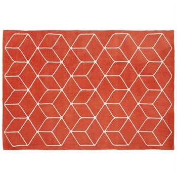 KUBE graphic red brick cotton rug (140 x 200cm)