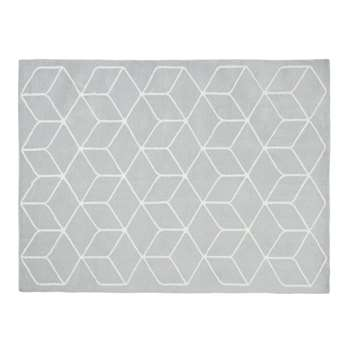 KUBE grey and white patterned cotton cushion (140 x 200cm)