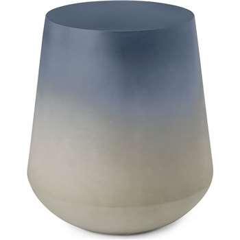 Kugel Garden Side Table, Blue Concrete (H39 x W88 x D23.5cm)