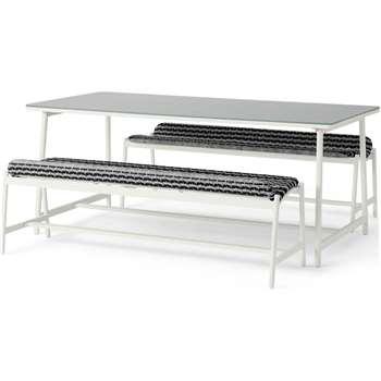 Kula Garden Bench Set, Black and White (H74 x W180 x D85cm)