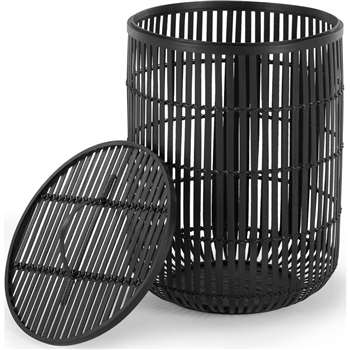 Kurino Bamboo Laundry Basket with Lid, Black (H51 x W35 x D15cm)