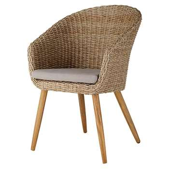 KUTA Garden chair in resin wicker and solid acacia (88 x 60cm)