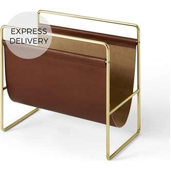 Kyri Leather Magazine Rack, Tan (H40 x W38 x D22cm)