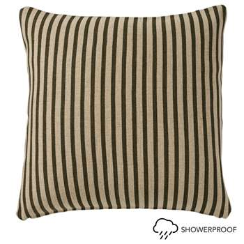 Kyuu Stripe Cushion Cover and Pad, Large - Brown (57 x 57cm)