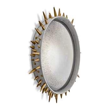 L'Objet - Celestial Convex Mirror - Grey & Gold - Large (53 x 53cm)