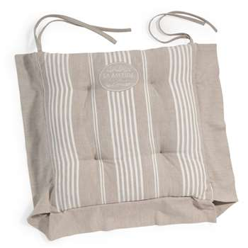 LA BASTIDE cotton stripe chair pad in beige