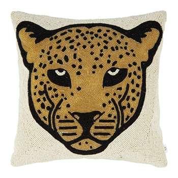 À la - Beaded Leopard Head Cushion (H35 x W35cm)