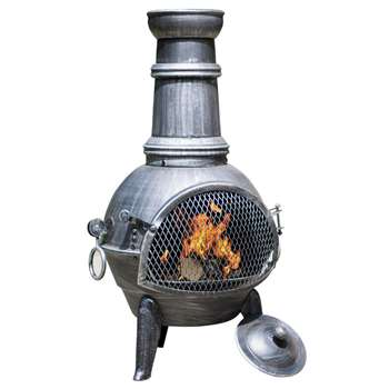 La Hacienda Medium Steel Chiminea with Cooking Grill (Diameter 40cm)
