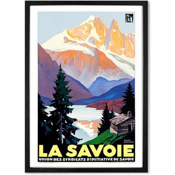 La Savoie A1 Framed Vintage Travel Wall Art Print, Multicoloured (H86 x W61 x D2cm)