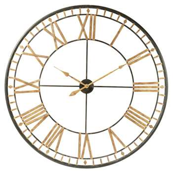 La Vallière Black Metal Clock (Diameter 120cm)